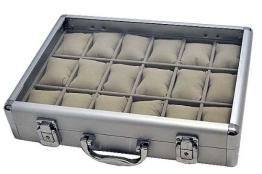 Alu Uhrenkoffer 18 Uhren Uhrenbox Schaukasten Uhrenkasten GRAU 4737 - 1