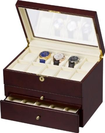 Auer Accessories Gaia 425DB Uhrenbox für 25 Uhren Dunkles Wurzelholz - 1