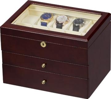 Auer Accessories Gaia 425DB Uhrenbox für 25 Uhren Dunkles Wurzelholz - 2