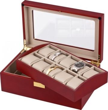 Auer Accessories Leda 110C Uhrenbox Für 10 Uhren Kirschholz Herausnehmbares Tablett - 2
