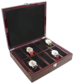 Bordeaux-rote Uhrenbox aus Holz für 10 Uhren - 1