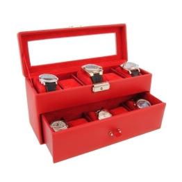Box für 10 Uhren. Kunstleder. Rot - 1