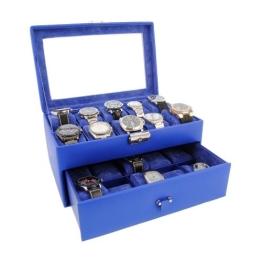 Box für 20 Uhren. Kunstleder. Blau Farbe - 1