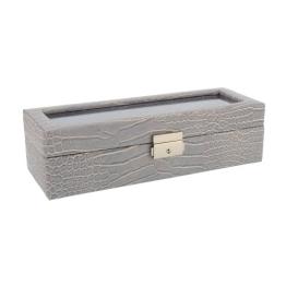 Box für 5 Uhren große Kugel Nachahmung Krokodilleder grau - 1