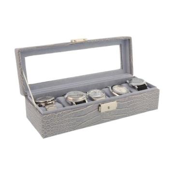Box für 5 Uhren große Kugel Nachahmung Krokodilleder grau - 2