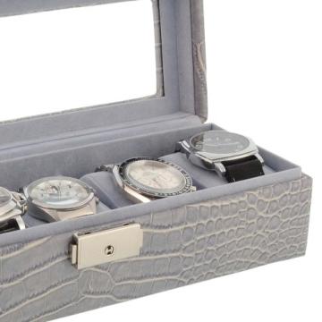 Box für 5 Uhren große Kugel Nachahmung Krokodilleder grau - 3