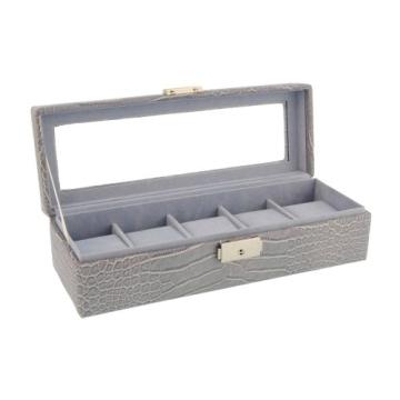Box für 5 Uhren große Kugel Nachahmung Krokodilleder grau - 5