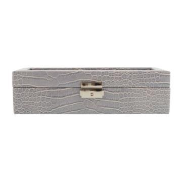 Box für 5 Uhren große Kugel Nachahmung Krokodilleder grau - 7
