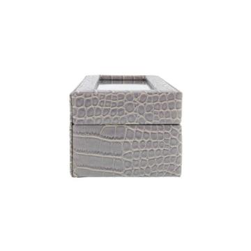 Box für 5 Uhren große Kugel Nachahmung Krokodilleder grau - 8