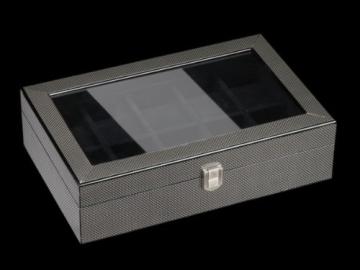 DeTomaso Trend Uhrenbox Carbon schwarz für 10 Uhren W-053-S - 2
