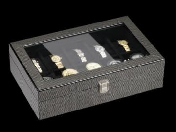 DeTomaso Trend Uhrenbox Carbon schwarz für 10 Uhren W-053-S - 3