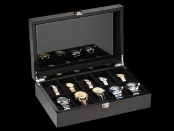 DeTomaso Trend Uhrenbox Carbon schwarz für 10 Uhren W-053-S - 4