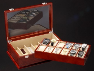 DeTomaso Trend Uhrenbox Grande braun für 18 Uhren WB-380-B - 6