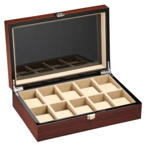 DeTomaso Trend Uhrenbox Mahagoni braun für 10 Uhren W-053-B - 1
