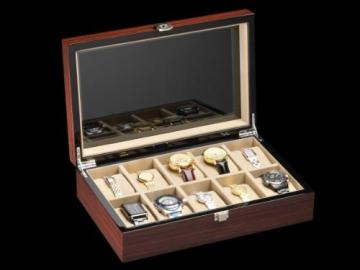 DeTomaso Trend Uhrenbox Mahagoni braun für 10 Uhren W-053-B - 4
