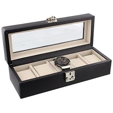 Dulwich Designs Connoisseur Kollektion Uhrenbox Schwarzes Leder 5 Teile mit Wildleder Gefühl Futter - Perfekt für Breitling Omega Cartier Rolex Tag Heuer Tissott Longines Rotary etc - 1