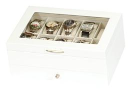 Edle Uhrenbox Holz Uhrenschatulle Vitrine weiß Uhr - 1