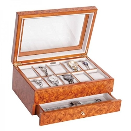 Edle Uhrenbox Peyton mit Schublade Uhrenschatulle Vitrine - 1
