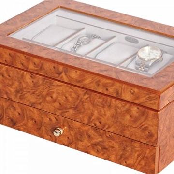 Edle Uhrenbox Peyton mit Schublade Uhrenschatulle Vitrine - 3