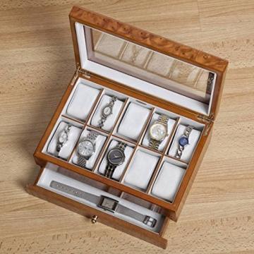 Edle Uhrenbox Peyton mit Schublade Uhrenschatulle Vitrine - 5
