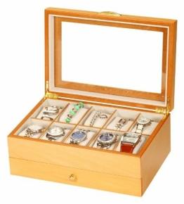 Edle Uhrenbox Sahir Holz Uhrenschatulle Vitrine Uhr - 1