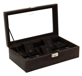 Friedrich Lederwaren Uhrenbox braun/schwarz für 10 Uhren - 1