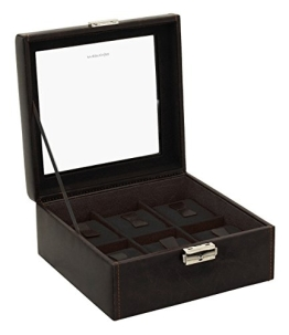 Friedrich Lederwaren Uhrenbox braun/schwarz für 6 Uhren - 1