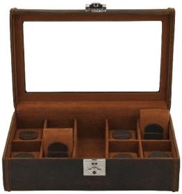 Friedrich|23 Uhrenkasten Cubano Leder braun für 8 Uhren 29 x 19 x 9 5 cm 27022-3 - 1