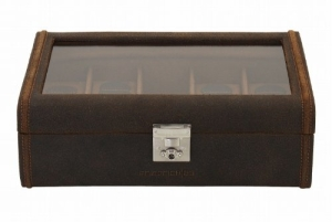 Friedrich|23 Uhrenkasten Cubano Leder braun für 8 Uhren 29 x 19 x 9 5 cm 27022-3 - 2