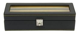 Friedrich|23 Uhrenkasten für 5 Uhren Leder Schwarz 26122-2 - 1
