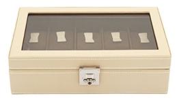 Friedrich|23 Unisex Uhrenkasten für 10 Uhren Echtes Leder Beige 26215-8 - 1