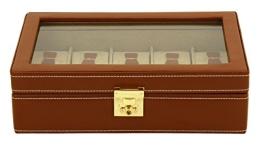 Friedrich|23 Unisex Uhrenkasten für 10 Uhren Echtes Leder Braun 26215-3 - 1