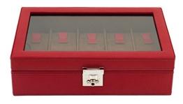 Friedrich|23 Unisex Uhrenkasten für 10 Uhren Echtes Leder Rot 26215-4 - 1