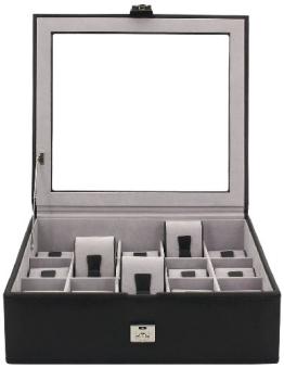 Friedrich|23 Unisex Uhrenkasten für 15 Uhren Feinsynthetik in Leder-Optik Schwarz 20542-2 - 1