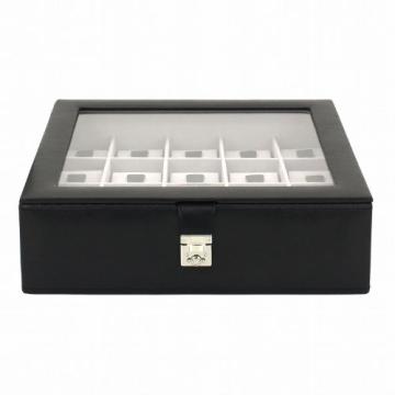 Friedrich|23 Unisex Uhrenkasten für 15 Uhren Feinsynthetik in Leder-Optik Schwarz 20542-2 - 2