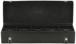 Friedrich|23 Unisex Uhrenkasten für 5 Uhren Echtes Leder Schwarz 26140-2 - 1