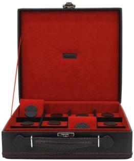 Friedrich|23 Unisex Uhrenkoffer für 12 Uhren Feinsynthetik in Carbon-Optik Schwarz 32054-2 - 1