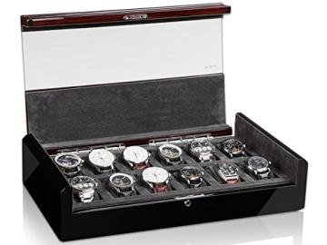 MODALO Imperia Uhrenbox für 12 Uhren MODELL 2014 schwarz/ makassar - 4