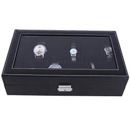 Songmics Neu Uhrenbox für 12 Uhren Uhrenkasten Schwarz Glas JWB12B - 1