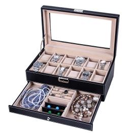 Songmics Neu Weihnachtsgeschenk Uhrenbox Uhrenkoffer für 12 Uhren Uhrenkasten Leder Glas JWB012 - 1