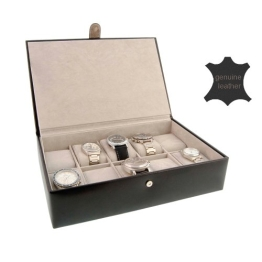 Uhren Box für 10 Uhren schwarz Leder - 1