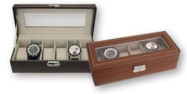Uhrenbox für 6 Uhren, dunkelbraun - 1