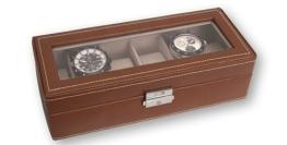 Uhrenbox für 6 Uhren, mittelbraun - 1