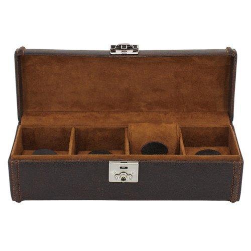 Braun 4 Leder Uhrenbox Uhren Zur Uhrenaufbewahrung Für Cubano Herren rBoexCd