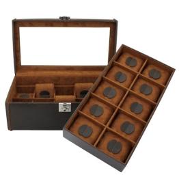 Uhrenbox Cubano Leder Braun