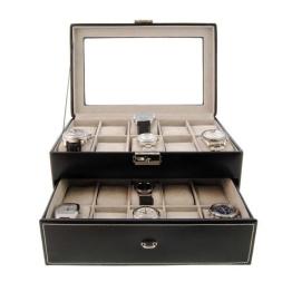 Uhrenschatulle aus Leder für 20 gross zifferblatt Uhren Farbe schwarz - 1