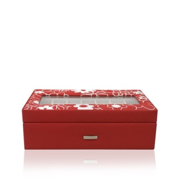 Windrose Charming Schmuckkoffer Charmbox mit Hubfach und Sichtfenster 1 flowers red - 1