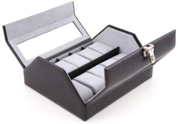 Windrose Nappa Uhrenkoffer für 10 Uhren 8 schwarz - 4