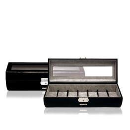 Windrose Vision Uhrenkassette für 7 Uhren mit Sichtfenster 8 schwarz - 1